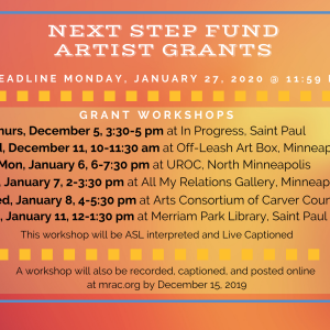 Next Step Fund Changes and Workshops for Individual Artists
