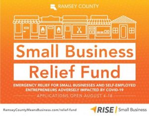 Graphic image with text about the Small Business Relief Fund